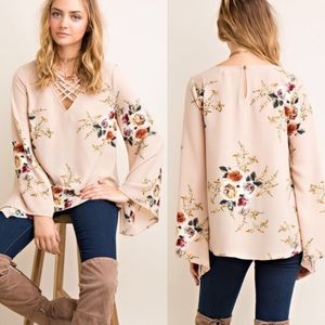 Taupe Floral A-Line Blouse with Strappy Neck