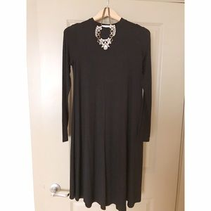 High Neck Black Long Sleeve Midi Dress