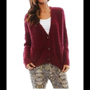 Free people red cardigan