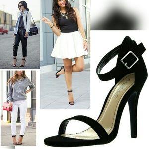 BLACK ANKLE BUCKLE /Strap sandal Heel