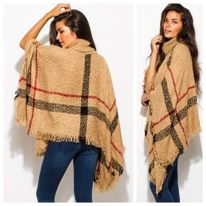 Boho Fuzzy Plaid Shawl Poncho Oversized Sweater