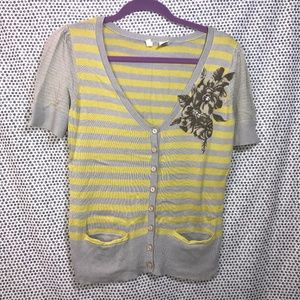 Moth Anthropologie Gray & Yellow Striped Cardigan