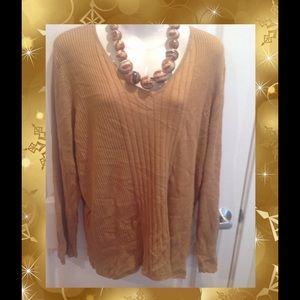 Sweaters - Camel V-Neck Plus Sweater ~ 18W/20W ~ EUC