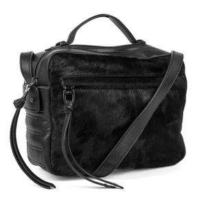 Kooba Handbags - Kooba Blythe Satchel, Black Leather/Calf Hair, NWT