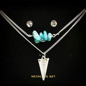 Jewelry - Boho Arrow Precious Stone Layer Necklaces & Studs