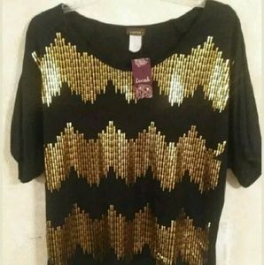Lavish Tops - Black & Gold Top