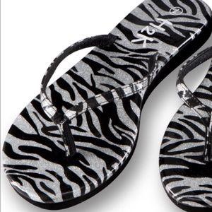 Shoes - 💣NEW💣Zebra Print Shiny Flip Flops💣