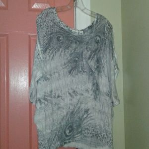 Silver peacock feather print top