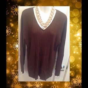 Sweaters - Plus Chocolate Brown Ribbed V-Neck Sweater~18W/20W