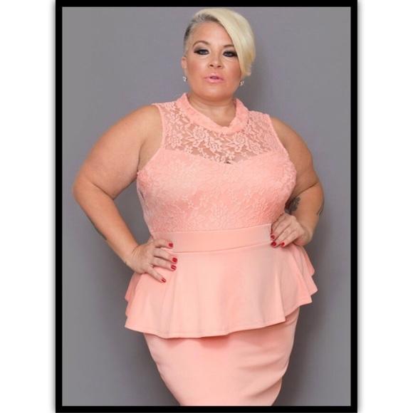 Dresses | Plus Size Peach Peplum Dress | Poshmark