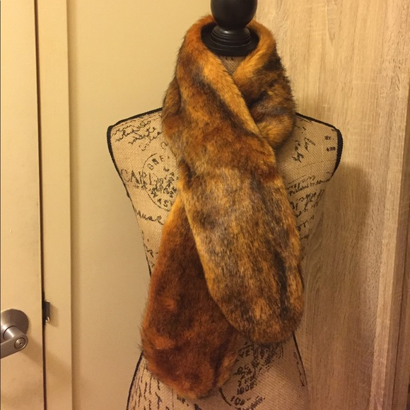 5dd2efeeb41 Mustard with black Faux fur scarf