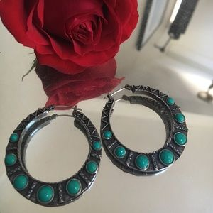 Lucky Brand Turquoise Hoops
