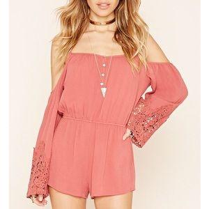 Forever 21 Dresses & Skirts - Pink cold-shoulder romper!