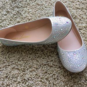 Silver shimmer flats Lucy by Lauren Lorraine