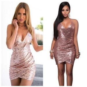 Dresses & Skirts - Deep V neck rose gold sequin bodycon party dress