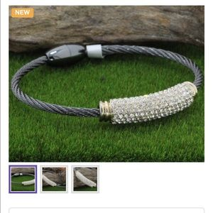 Jewelry - Rhodium Magnetic Clasp Bangle Cable Bracelet