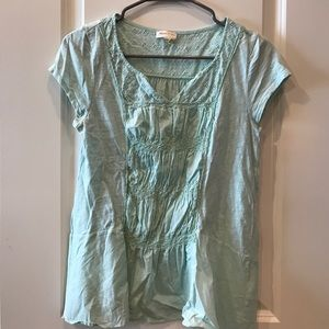 Anthropologie mint green blouse