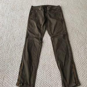 Genetic Denim Denim - Genetic Denim- James Zip Green Skinny Jeans