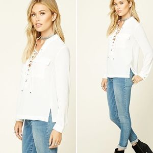 Tops - Lace-up cream blouse