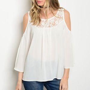 WILA Tops - LAST 1 • white cold shoulder top lace long  sleeve