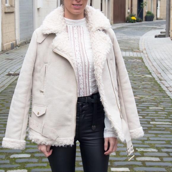 Zara - Zara Moto cream shearling aviator coat sz XS from Ets's ...