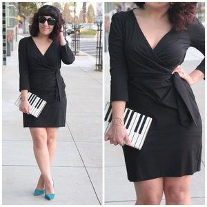 Diane Von Furstenberg Black Oletta Faux Wrap Dress