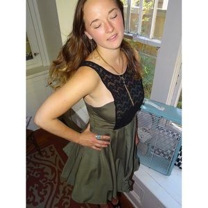 KNT Olive Black Lace Dress