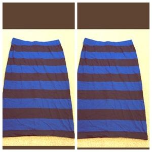 Blue and black striped pencil skirt