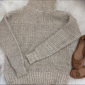 Knit cream and tan turtleneck sweater