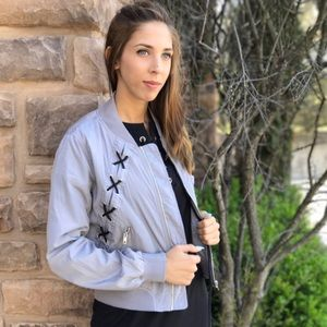 Jackets & Blazers - Lace Up Shoulder Bomber