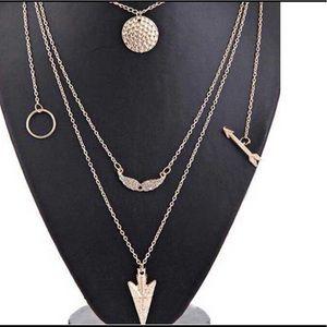 Jewelry - Dainty layered Necklace 5 Charms Gold Jewelry