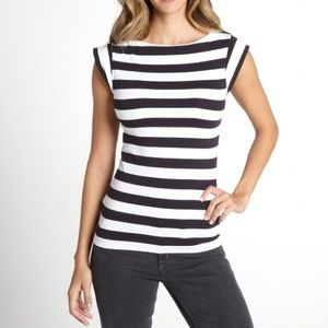 French Connection navy & white cap sleeve top