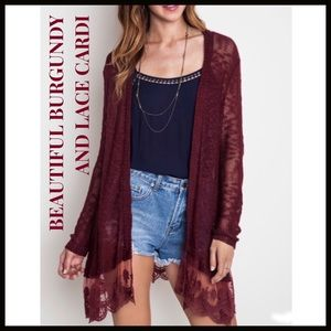 Lightweight Sweater Burgundy & Lace