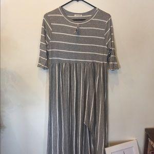 Boheme Dresses & Skirts - Grey and white stripped maxi dress