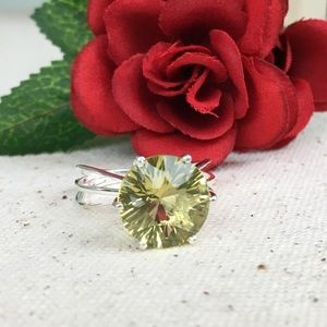 Jewelry - Green Gold Quartz SS Solitaire Ring
