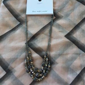 LOFT iridescent Gunmetal bead necklace