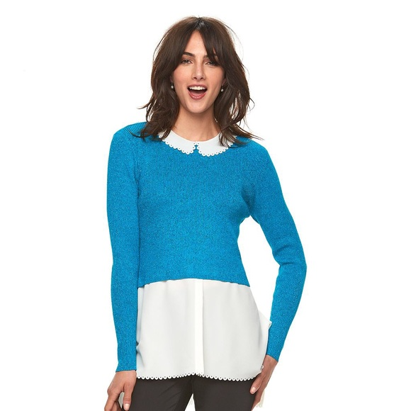 ELLE TURQUOISECREAM SCALLOPED MOCK LAYER SWEATER NWT