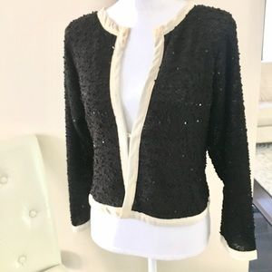 a'reve Sweaters - A'REVE Black and Cream Cardigan w/ Sequins. Sz XL