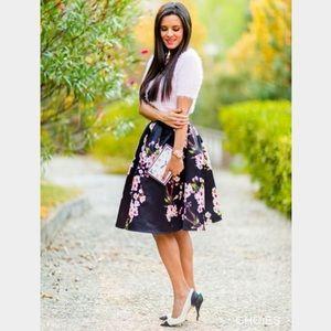 CHOIES Dresses & Skirts - CHOIES Black Floral Midi Skirt