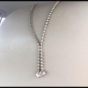 Y necklace lariat style 1950s rhinestones prongset