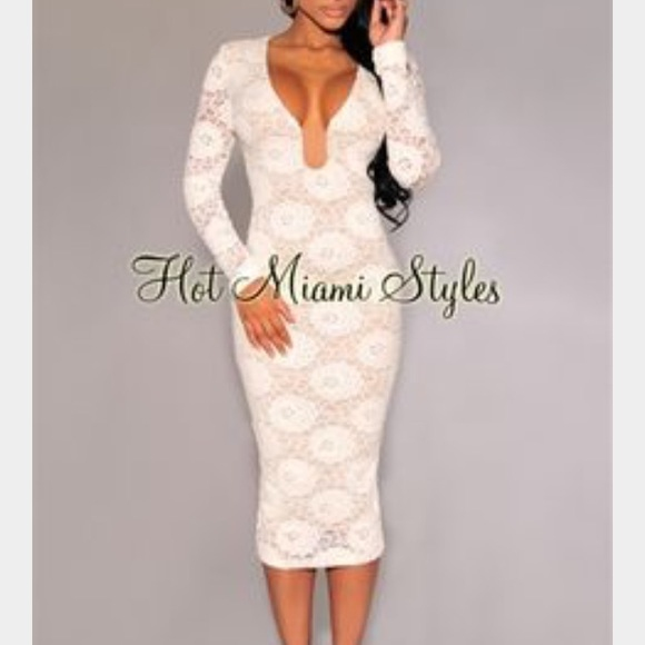 ab57198d1b1 Off-White Lace Long Sleeves Midi Dress XS NEW