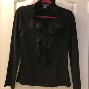 Gracia Tops - Gracia black ruffle blouse L EUC