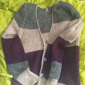 Free People Cozy Stripe Cardigan Sweater L