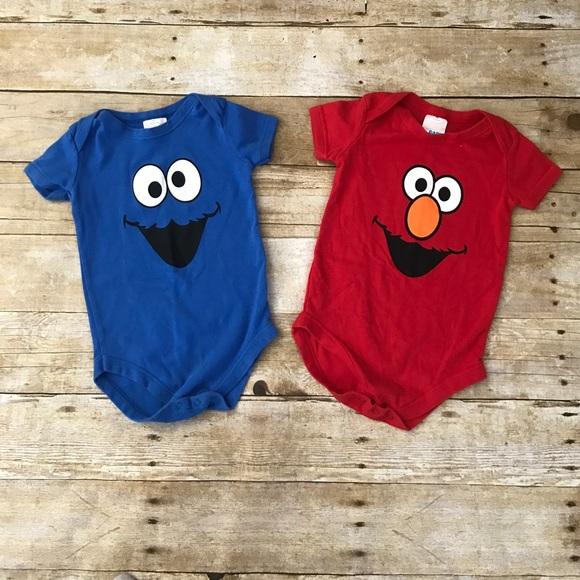 9a294fb3f9ed Sesame Street Elmo and Cookie Monster Onesies. M 58a763ab99086ab1570172d9