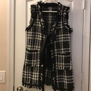 Gracia Jackets & Blazers - Gracia Black & White Plaid Tweed Vest
