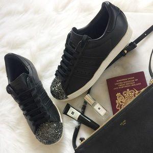 Adidas Shoes - Adidas Superstar Black Metal Toe Sneakers NWOT