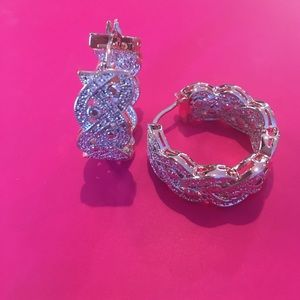 """Jewelry - """"Diamond"""" Accent &Rose Gold Braided Hoop Earrings"""