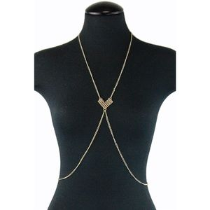 Boho Gypsy Sisters Jewelry - Boho Gold heart body chain