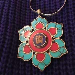Jewelry - Turquoise and coral inlaid Om pendant. Silver tone