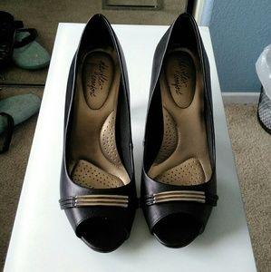 dexflex comfort  Shoes - Black peep toe heels